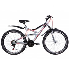 """Велосипед Discovery 26"""" CANYON AM2 Vbr рама-17,5"""" 2021 Silver/Red (OPS-DIS-26-348)"""